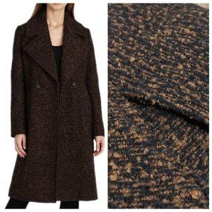 Badgley Mischka L Notch Collar Boucle Wool Coat